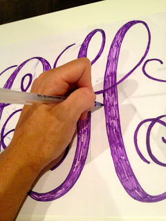 trace letters onto top