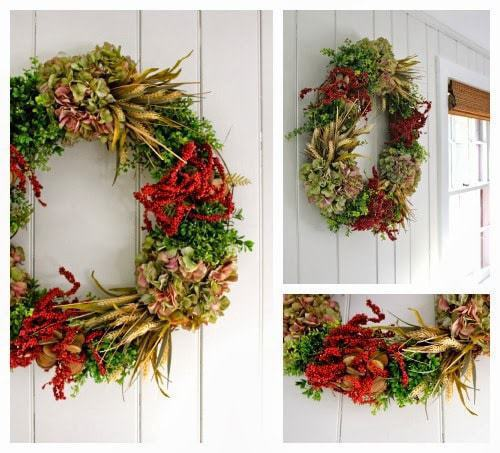 diy wreath with faux greenery