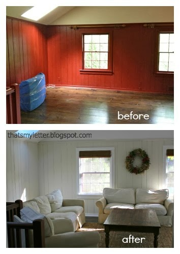 family room paint makeover before and after