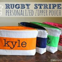 """R"" is for Rugby Stripe Pouch"