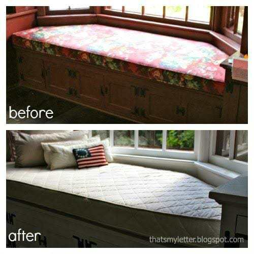 windowseat makeover using drop cloth before and after