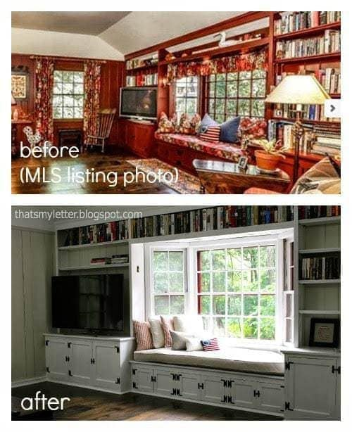 windowseat in family room before and after