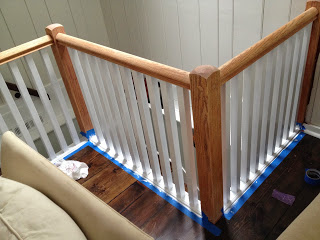 railing stripped to raw wood