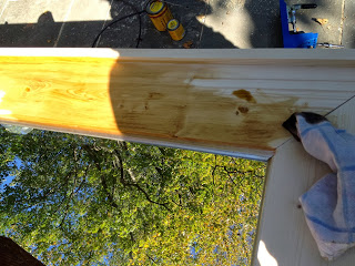 apply stain to wood frame