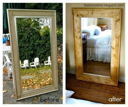 framed floor mirror before and after