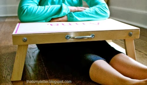 folding desk with kid for size