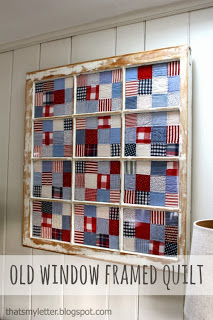 quilts pieces framed in old window