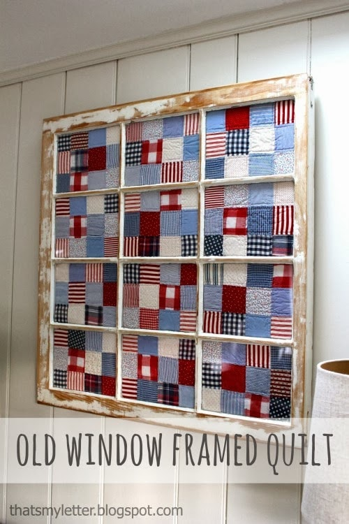 Foyer Window Quilt : Old window repurposed as a frame jaime costiglio