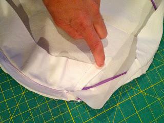 edge of slipcover folded over