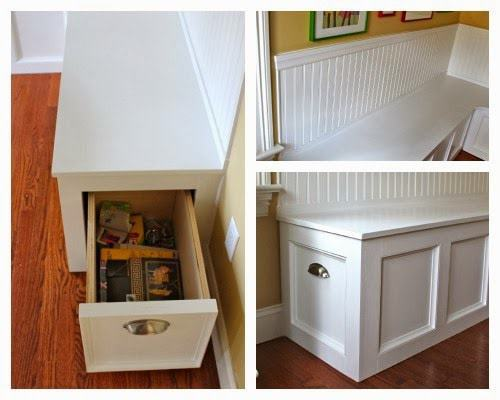 diy kitchen banquette with drawers
