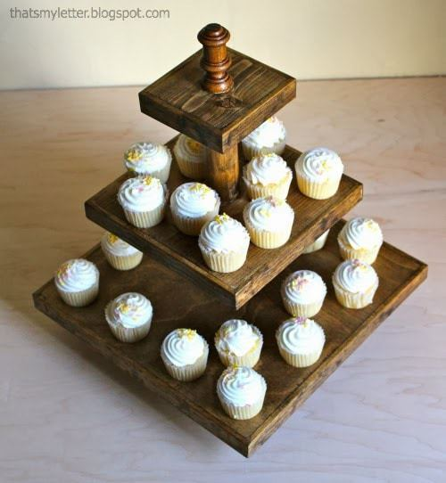 stained wood cupcake stand farmhouse wedding