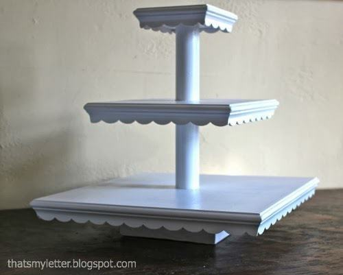 tiered cupcake stand in white