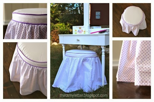 diy kids vanity stool with gathered slipcover