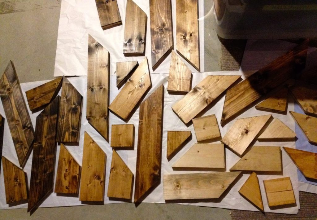 stained wood pieces drying