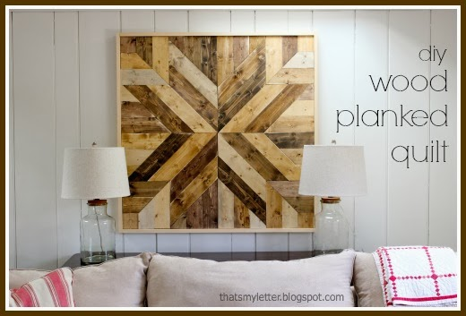diy wood planked quilt on wall
