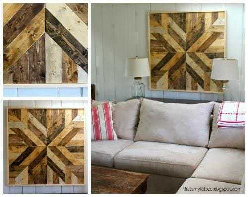 planked wood wall quilt collage