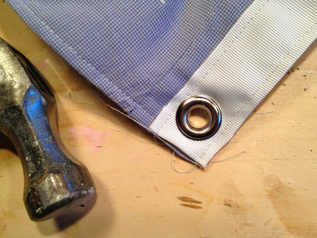 grommets in position