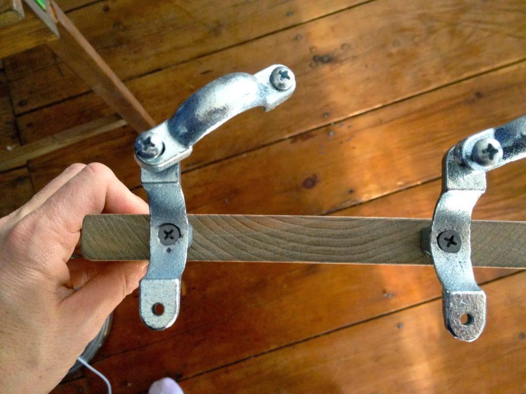 split ring clamp hangers into wood slats