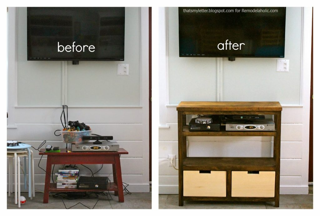 open media shelf before and after