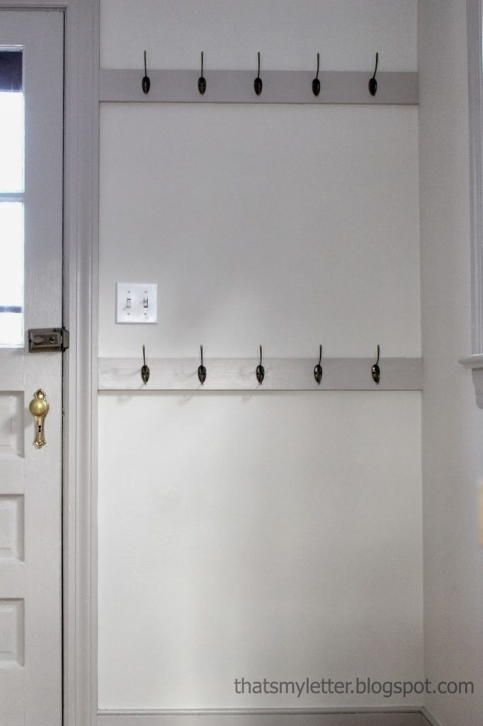 mudroom wall with double hooks