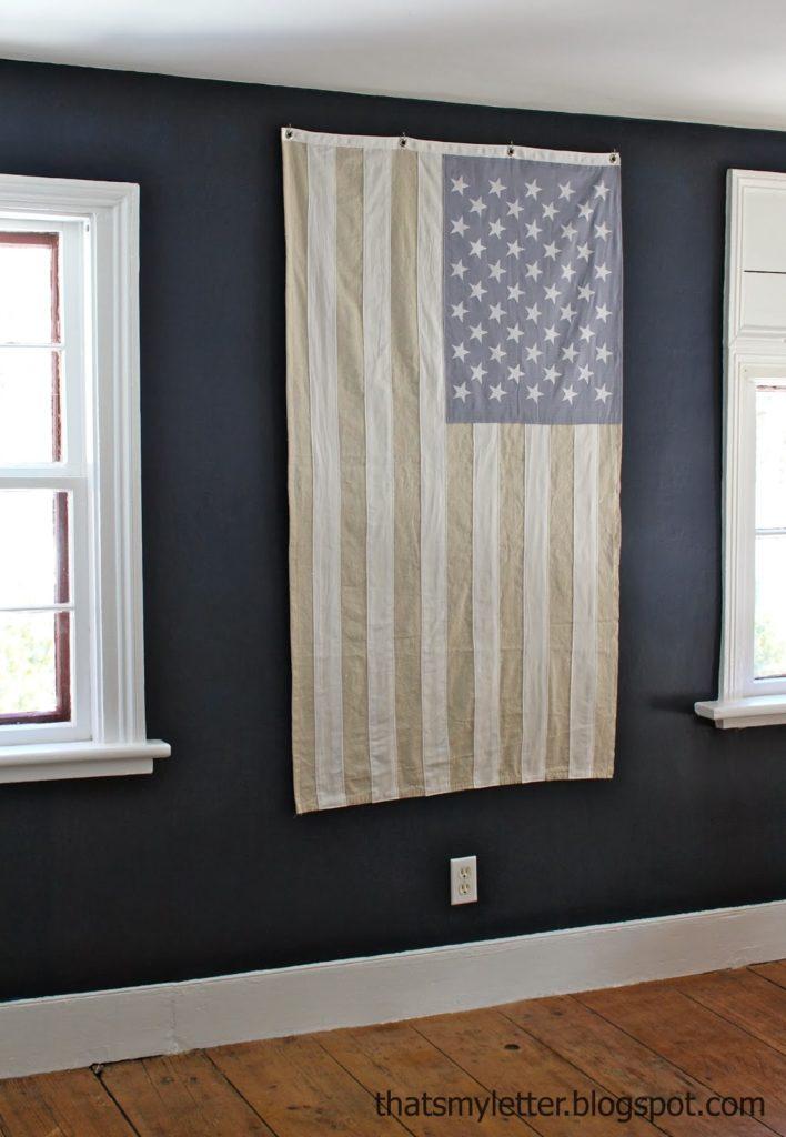 diy American flag neutral decor