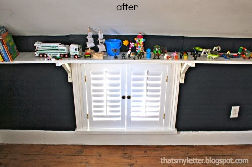low window after with shutters and shelf