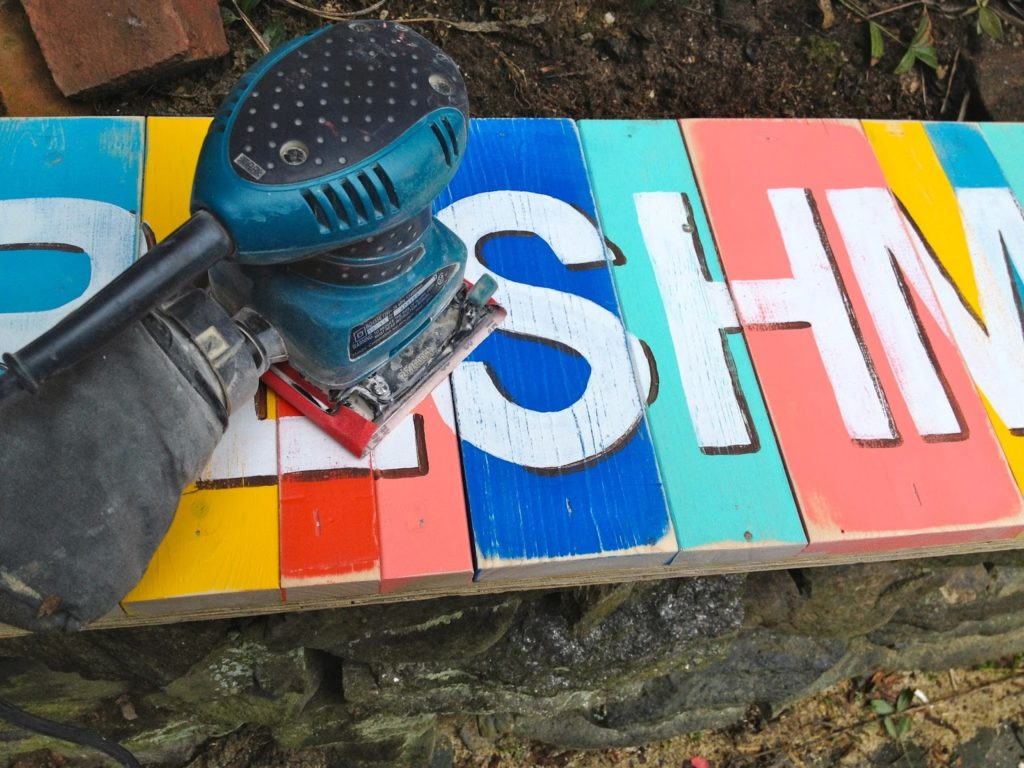 distressing handpainted sign