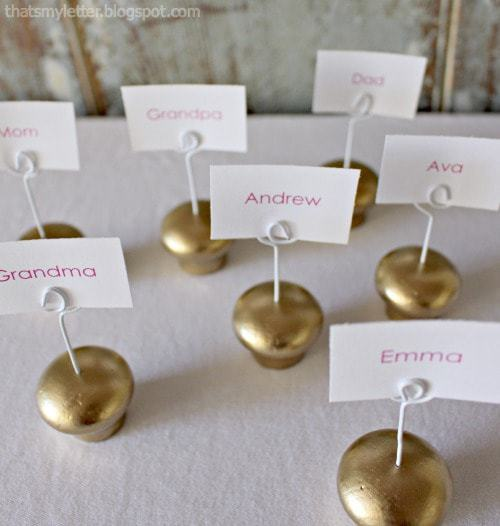 diy gold place card holders