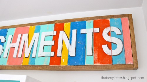 diy handpainted multi-color sign with frame
