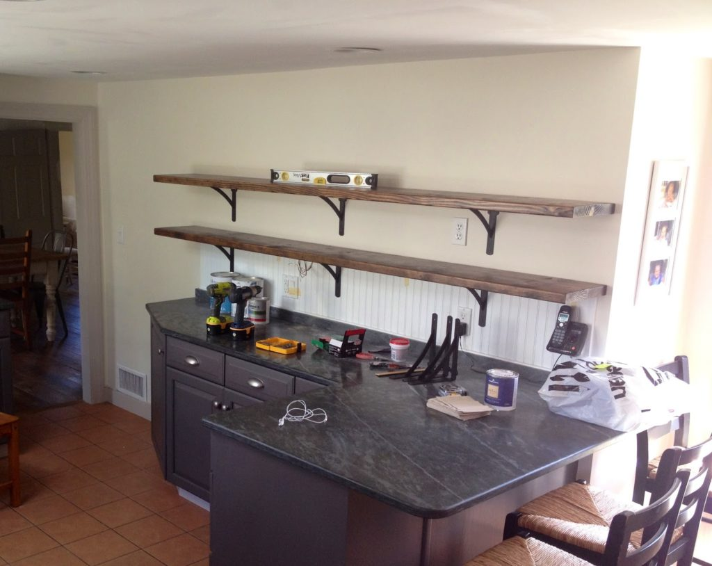 installing open wood shelves