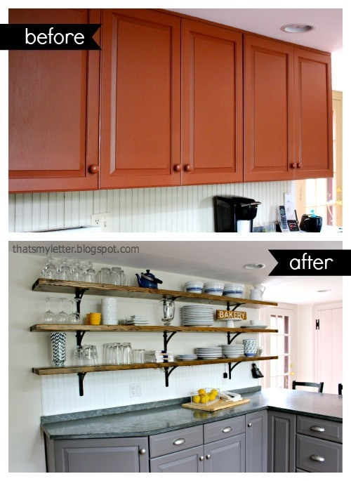 open wood shelving before and after