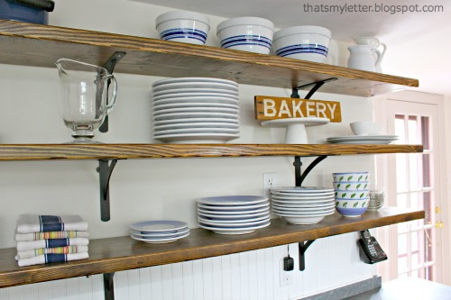 diy open wood shelves farmhouse kitchen