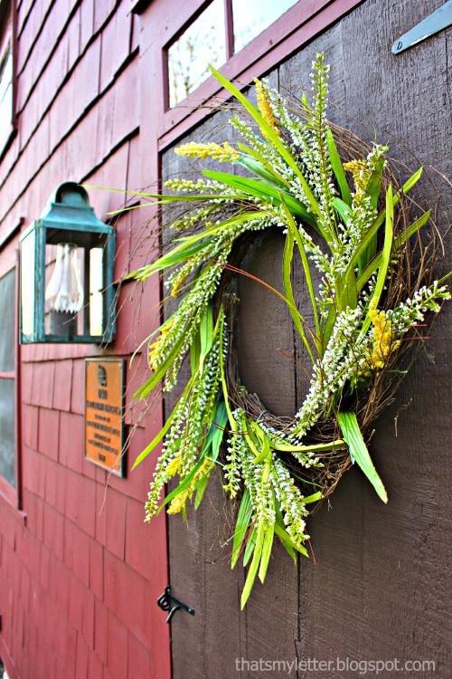 easy spring wreath on front door
