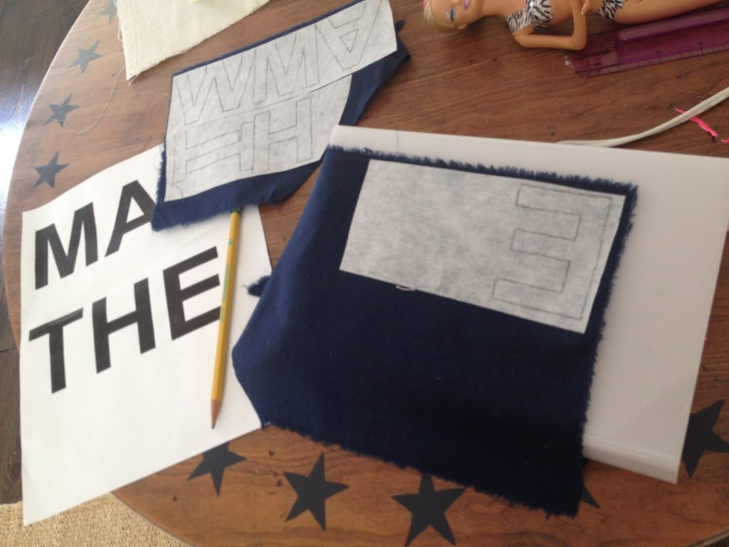 trace letters onto fabric using light box