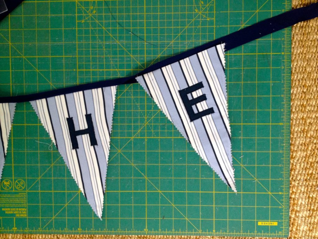 sew triangles into bias strip