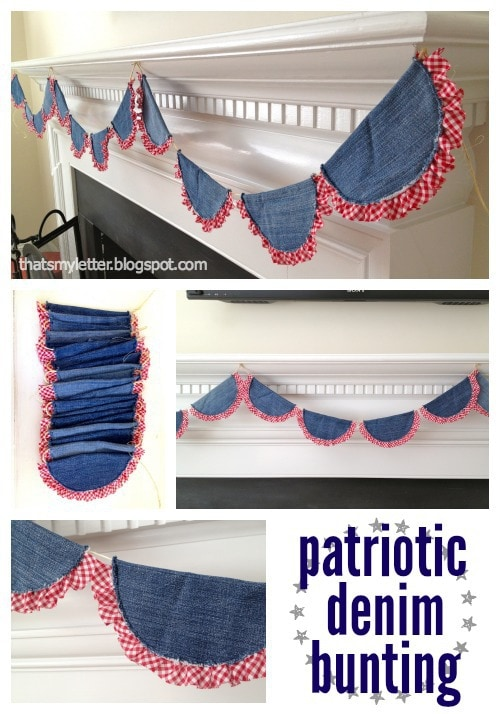 diy 4th of July patriotic denim bunting