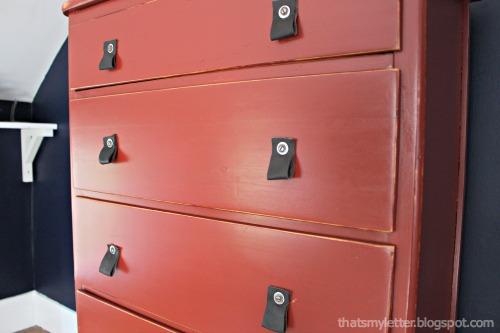diy leather pulls on red dresser