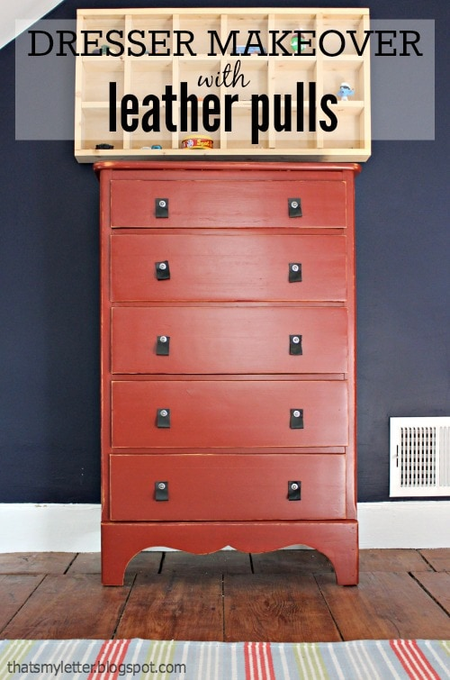 dresser makeover with leather pulls