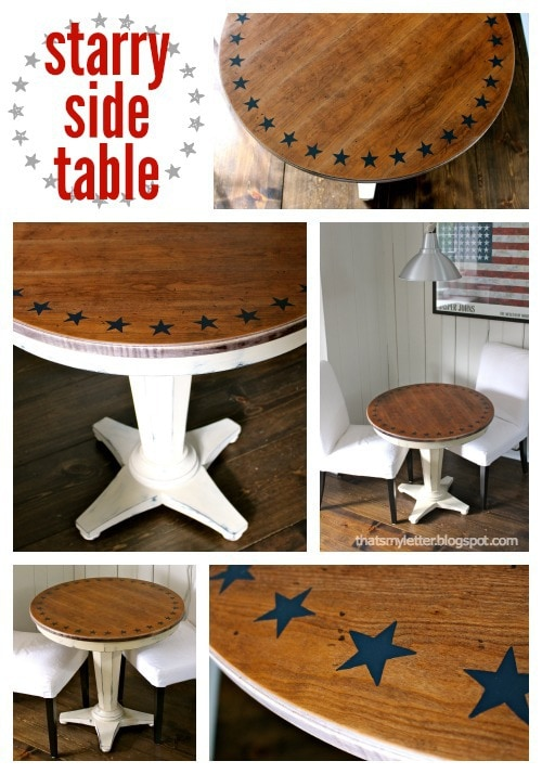 diy round side table with handpainted stars
