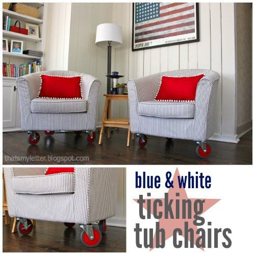 diy blue and white ticking upholstered tub chairs