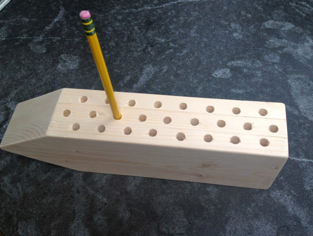 wood pencil holder with holes