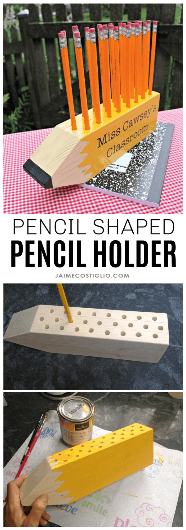 diy pencil shaped pencil holder