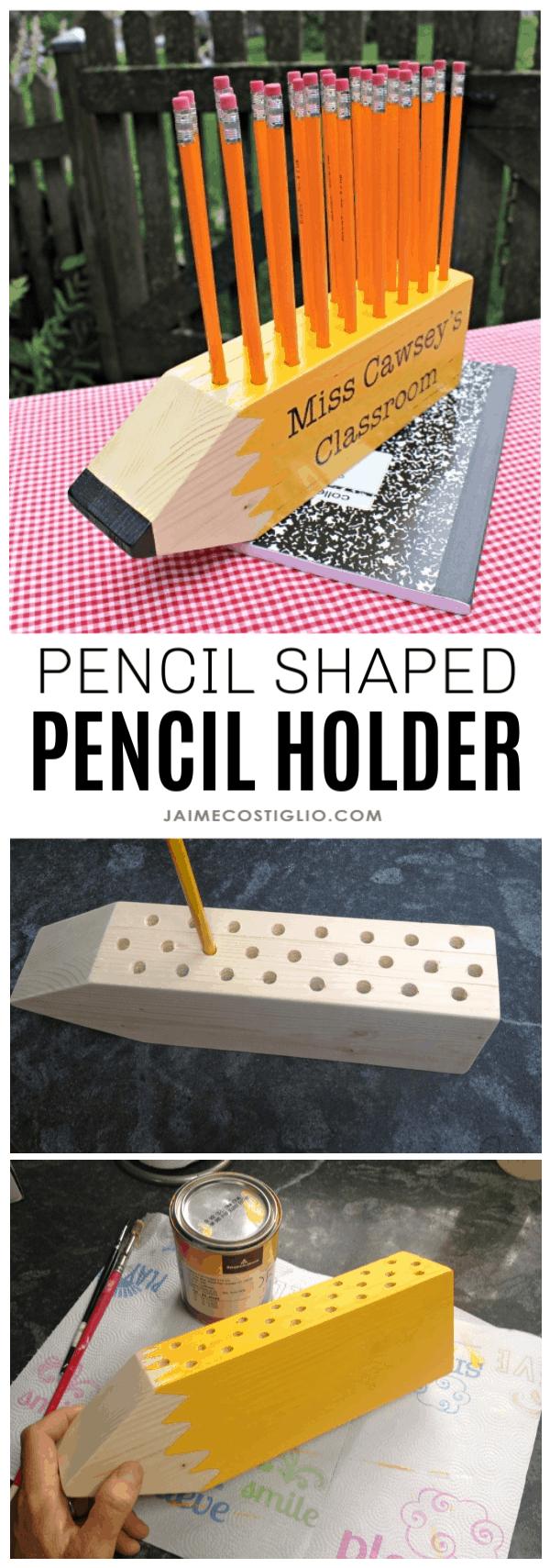 diy pencil shaped pencil holder
