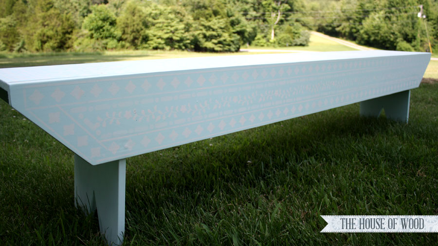 House of Wood stenciled bench