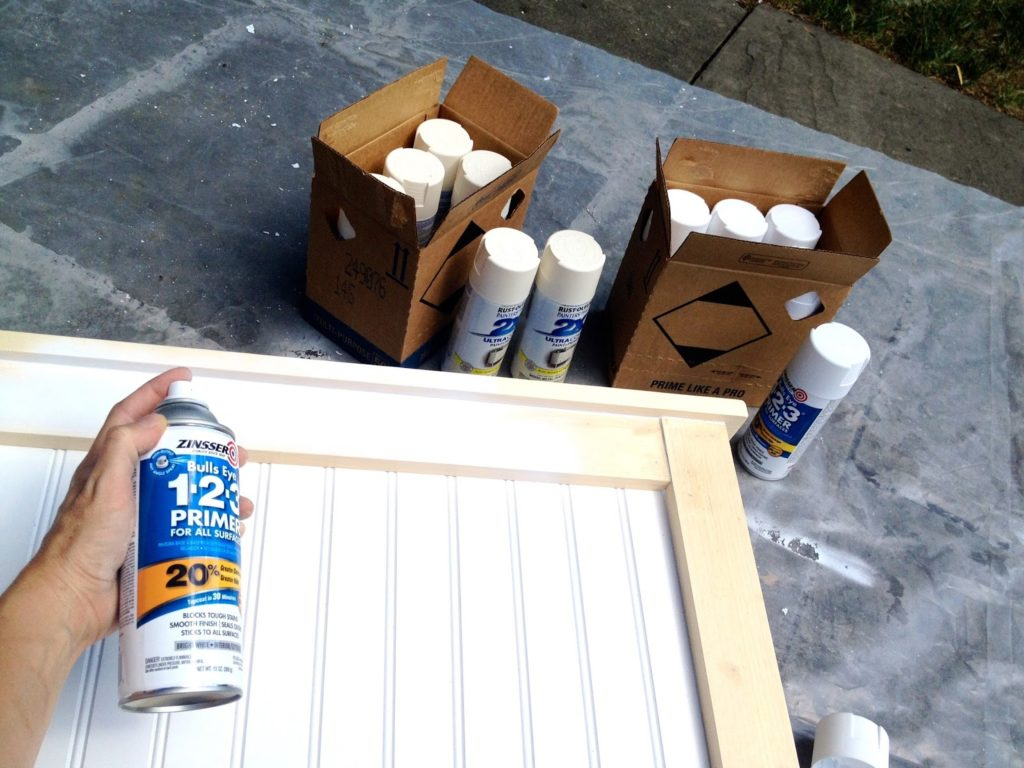 spray primer on natural wood