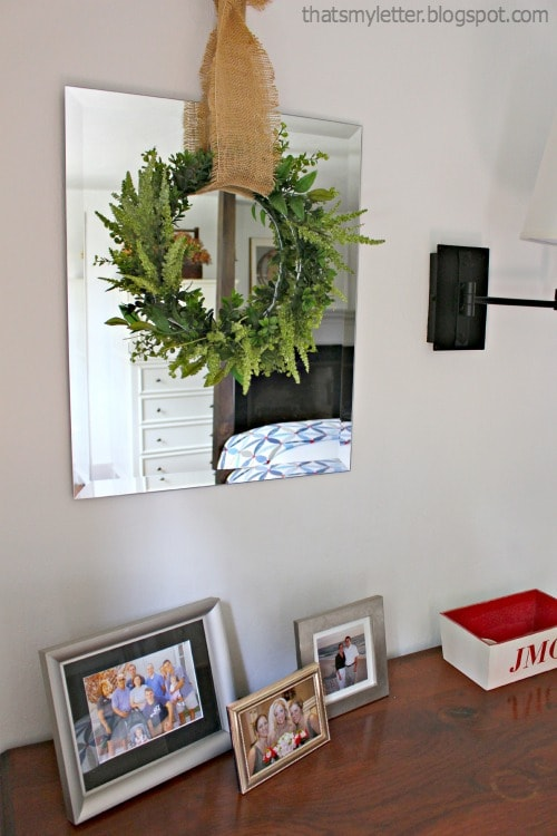 mirror with wreath