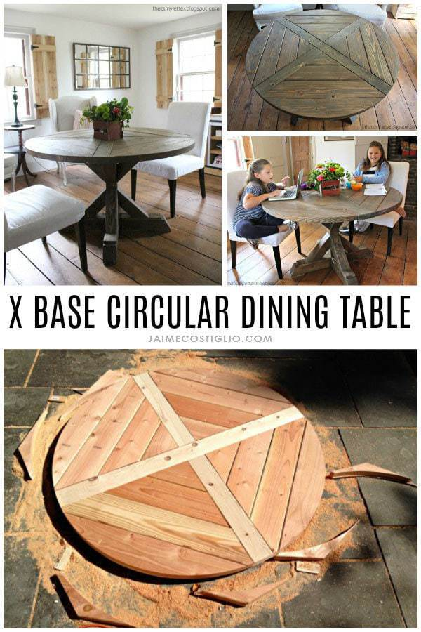 diy X base circular dining table plans