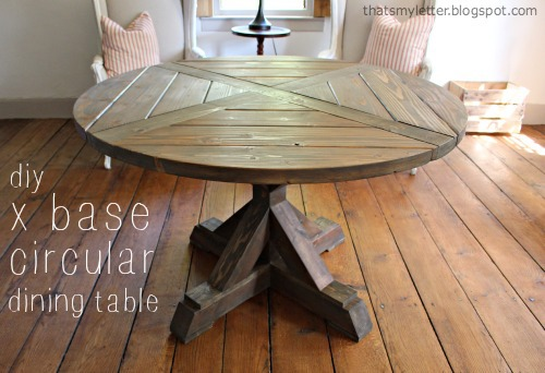 diy x base circular dining table