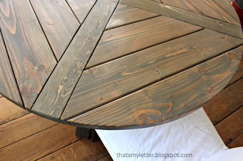 circular table design with planked top