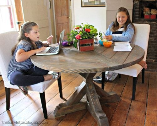girls doing homework at circular table